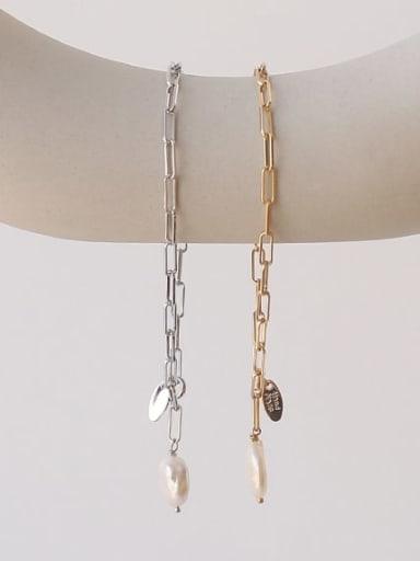 Brass Freshwater Pearl Geometric Chain Minimalist Link Bracelet