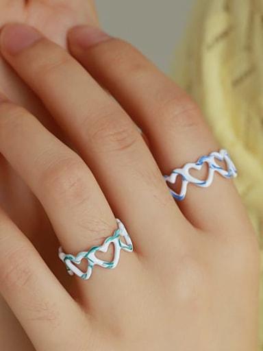 Zinc Alloy Enamel Heart Minimalist Band Ring