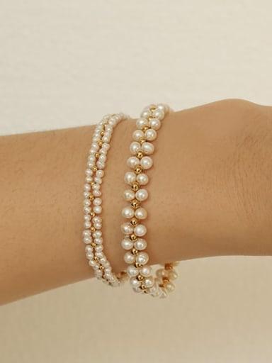 Titanium Steel Freshwater Pearl Geometric Vintage Bracelet