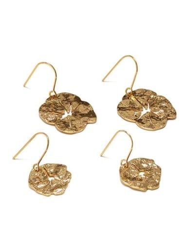 Hollow leaf (large) (water plated) Brass Geometric Minimalist Hook Earring