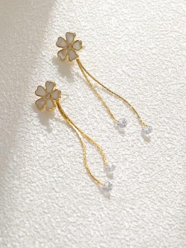 Brass Shell Tassel Minimalist Drop Earring