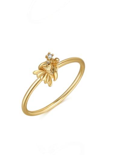 Little Goldfish Brass Cubic Zirconia Multi Color Irregular Cute Band Ring