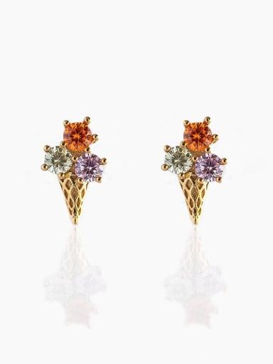 Egg cone Brass Cubic Zirconia Multi Color Irregular Cute Stud Earring