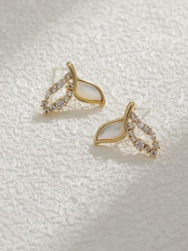 Brass Cubic Zirconia Fish  tail Cute Stud Earring