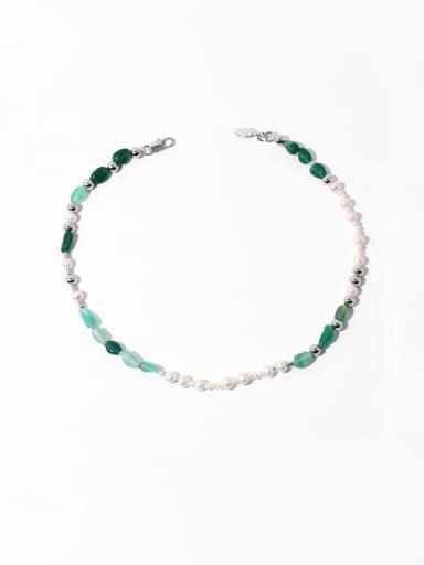 Brass Freshwater Pearl Geometric Bohemia Beaded Necklace