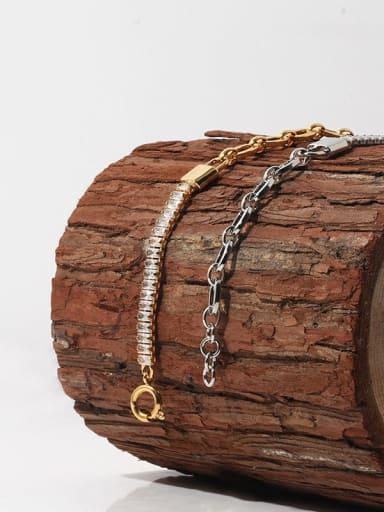 Brass Cubic Zirconia Geometric Vintage Bracelet