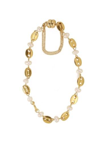 Brass Freshwater Pearl Geometric Vintage Beaded Bracelet