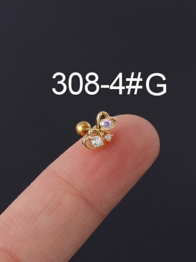 4#gold Brass Cubic Zirconia Multi Color Ball Stud Earring(Single)