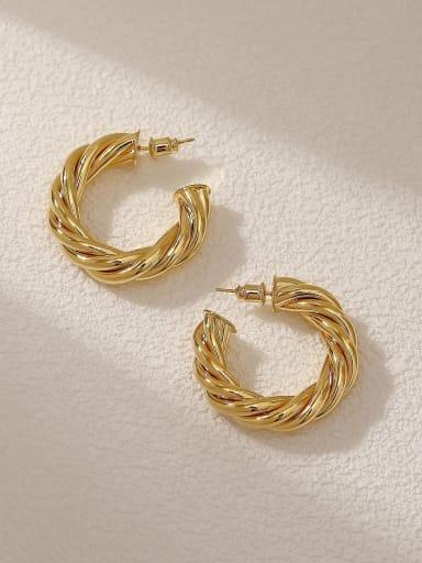 18K Gold Brass Geometric Minimalist Hoop Earring