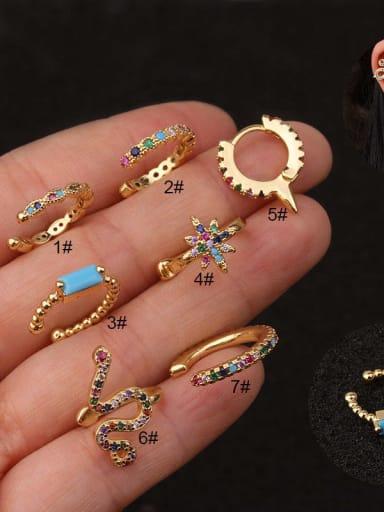 Brass  with Cubic Zirconia Multi Color Minimalist Hoop Earring