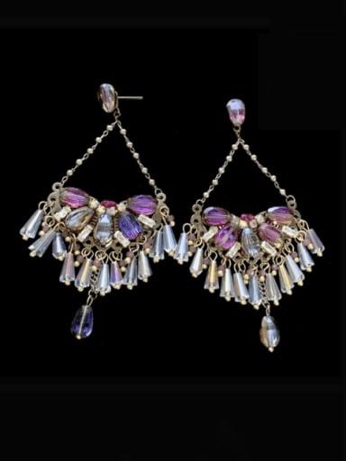 Brass Crystal Geometric  Imitate Statement Drop Earring