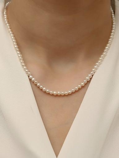 Brass Imitation Pearl Geometric Minimalist Beaded Trend Korean Fashion Necklace