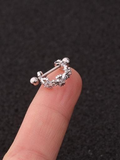 Silver Cross Brass  With Cubic Zirconia White Minimalist Single Earring