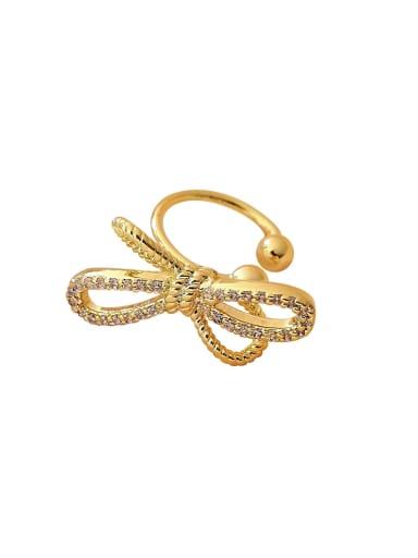 Brass Cubic Zirconia Bowknot Minimalist Clip Earring