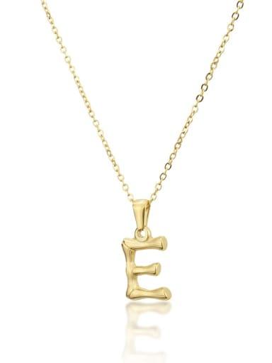 E Titanium Rhinestone minimalist letter Pendant Necklace
