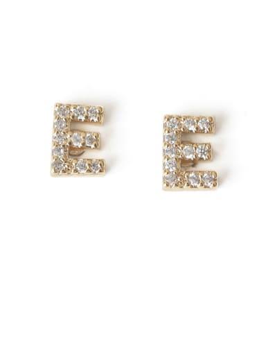 E Brass Cubic Zirconia Letter Minimalist Stud Earring