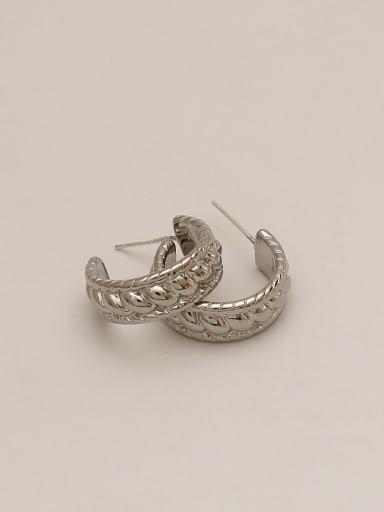 white K Brass Geometric Ethnic Stud Earring