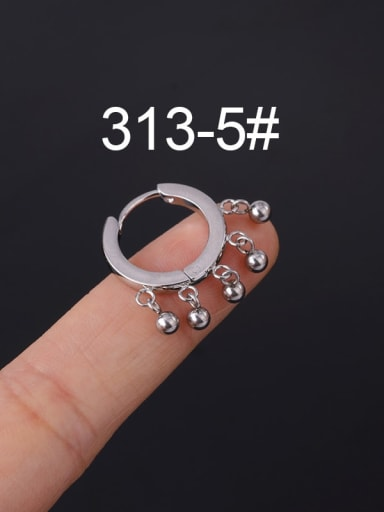 5 Stainless steel with Cubic Zirconia White Ball Minimalist Stud Earring