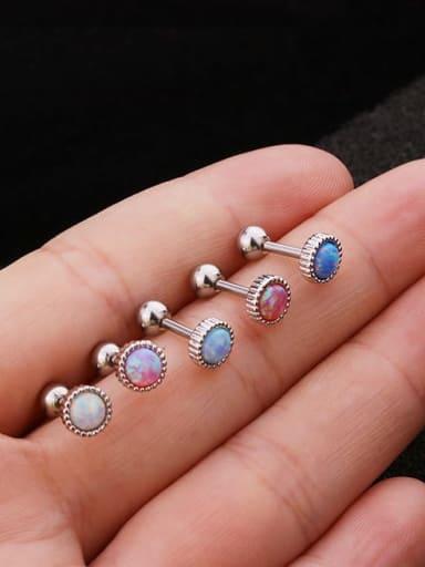 Brass Opal Geometric Cute Stud Earring