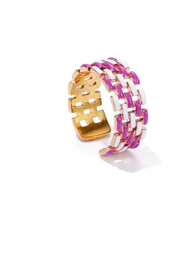 White and purple Brass Enamel Geometric Vintage Band Ring