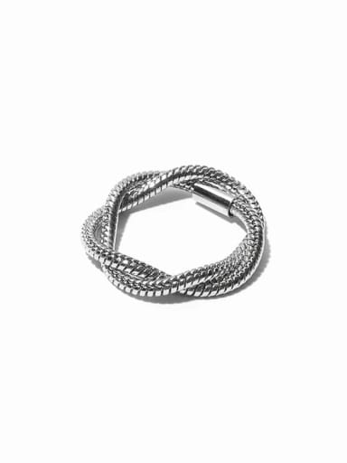 Double ring Titanium Steel Geometric Vintage Stackable Ring