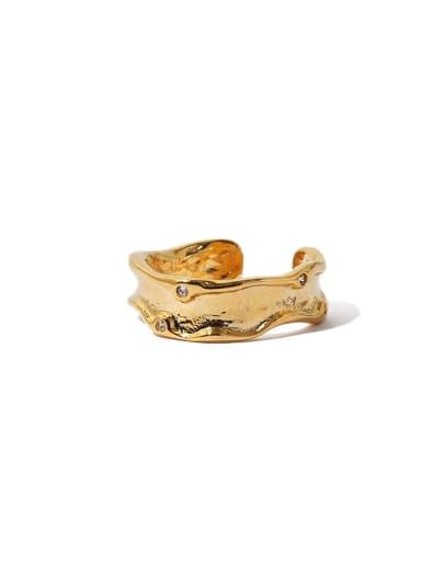 Gold ring transparent zircon Brass Cubic Zirconia Irregular Vintage Band Ring