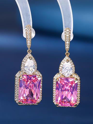 Brass Cubic Zirconia Geometric Luxury Drop Earring