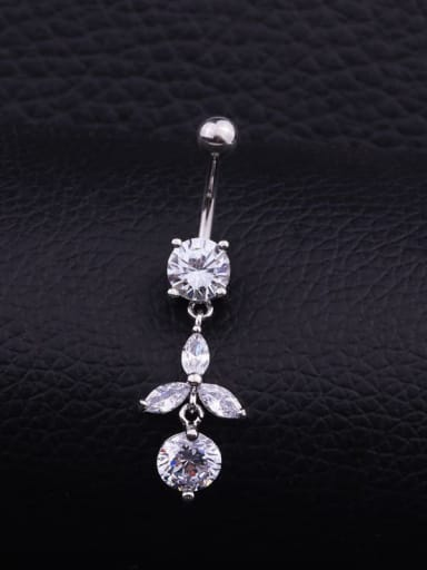Section B(Single) Stainless steel Cubic Zirconia Water Drop Hip Hop Belly Rings & Belly Bars