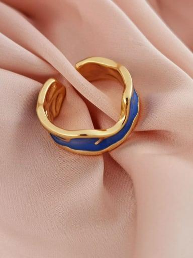 14k Gold Brass Enamel Geometric Minimalist Band Ring