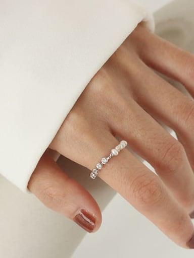 Brass Freshwater Pearl Geometric Minimalist Midi Ring