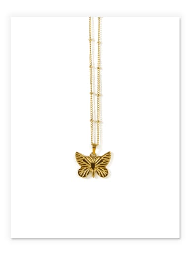 Golden butterfly Titanium Steel Butterfly Vintage Necklace