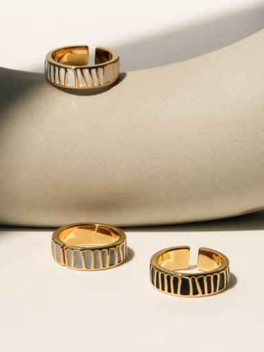 Brass Enamel Irregular Minimalist Band Ring