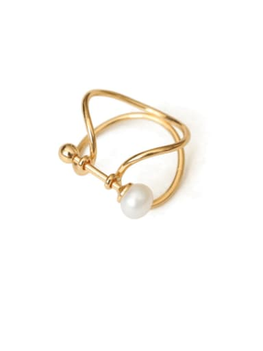 Brass Imitation Pearl Geometric Vintage Band Ring