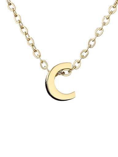 C 14K Titanium Letter Minimalist Initials Pendant Necklace