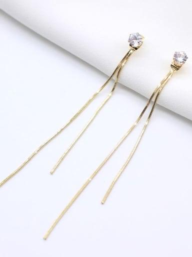 14 K gold Titanium Rhinestone Tassel Minimalist Threader Earring