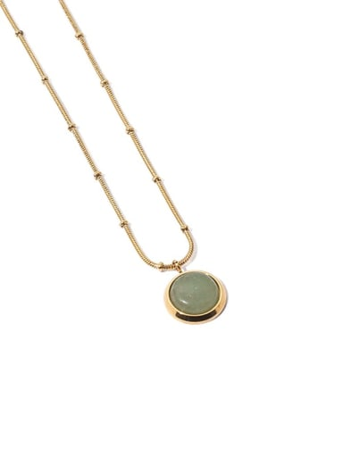 Green Dongling Brass Cats Eye Geometric Vintage Necklace