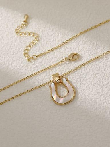 14k gold Brass Shell Geometric Minimalist Necklace
