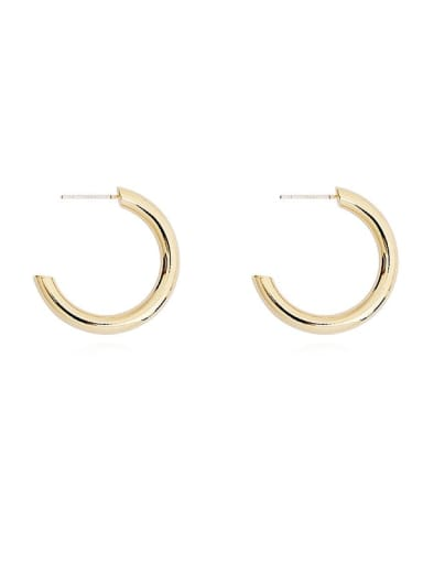 Copper Minimalist Geometric C shape Stud Earring