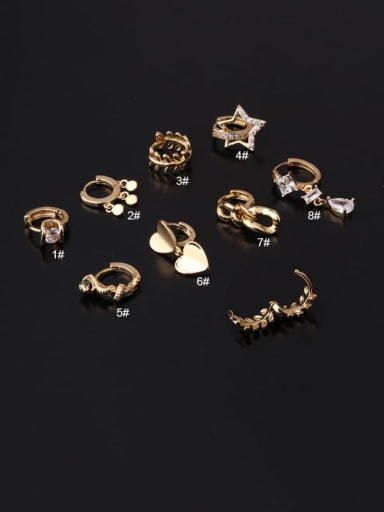 Brass Cubic Zirconia Geometric Hip Hop Huggie Earring