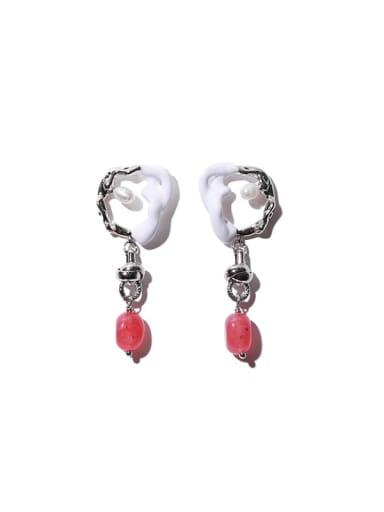 Pink natural stone Brass Enamel Irregular Vintage Chandelier Earring