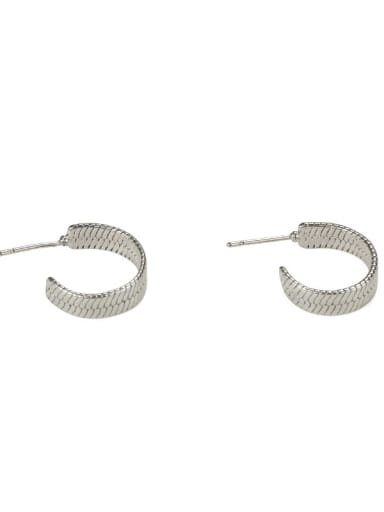 Platinum Brass Smooth Geometric Ethnic Stud Earring