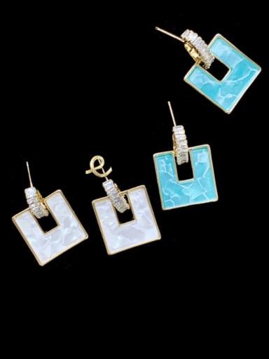 Brass Shell Geometric Minimalist Drop Earring