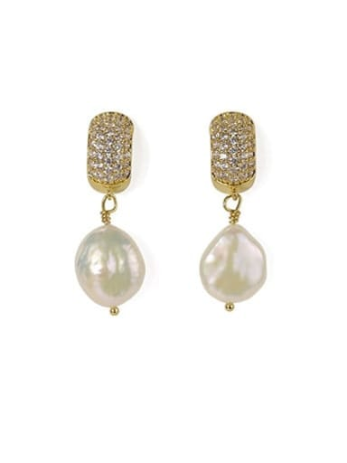 Gold Brass Freshwater Pearl Geometric Classic Chandelier Earring
