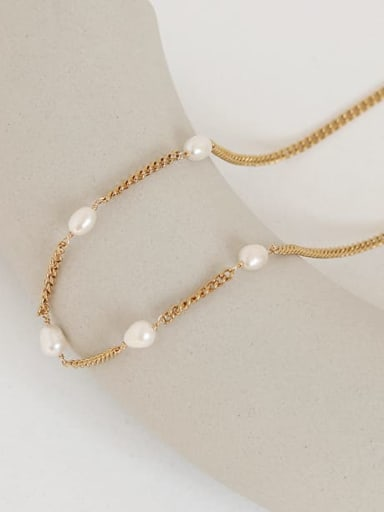 Brass Freshwater Pearl Geometric Vintage Multi Strand Necklace