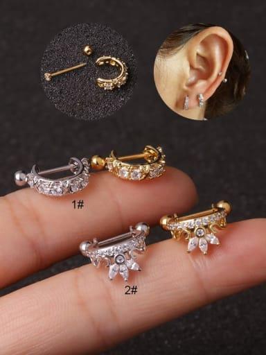 Brass Cubic Zirconia Flower Hip Hop Clip Earring