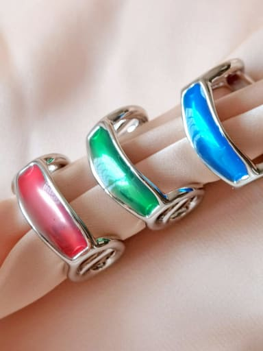 Alloy Enamel Geometric Minimalist Band Ring