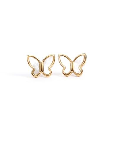 big Titanium Steel Shell Butterfly Minimalist Stud Earring