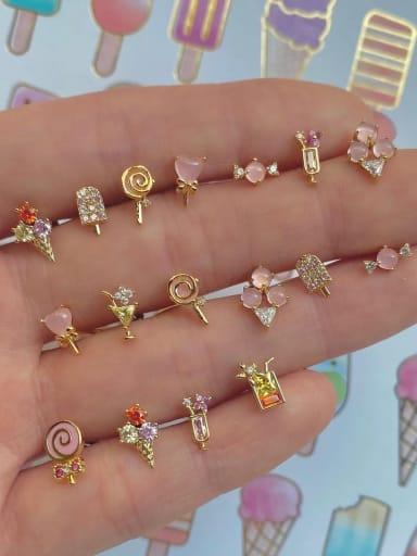 Brass Cubic Zirconia Multi Color Irregular Cute Stud Earring
