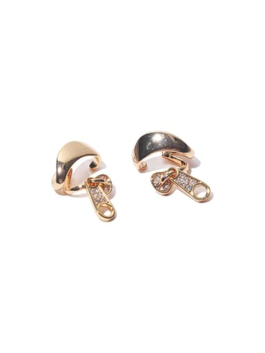 Gold (left and right) Brass Cubic Zirconia Mushroom Hip Hop Stud Earring