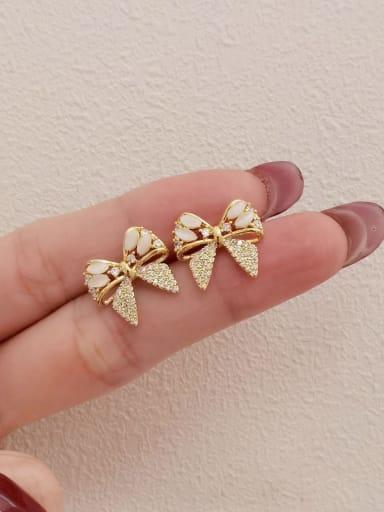14k Gold Brass Cubic Zirconia Butterfly Vintage Stud Earring